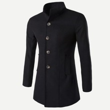 Men Single Breasted Solid Coat