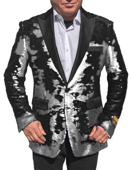Alberto Nardoni white Shiny Sequin Tuxedo Black paisley sport jacket