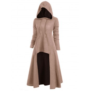 Hooded High Low Drop Shoulder Longline Sweater