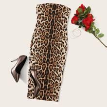 Vestido ajustado tubo con estampado de leopardo