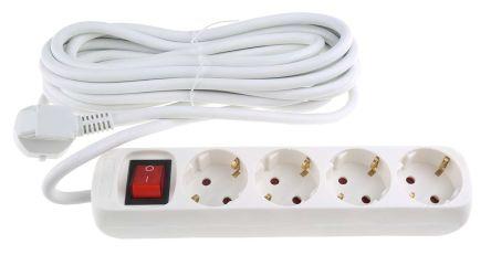RS PRO 5m 4 Socket Schuko Extension Lead, 250 V, White