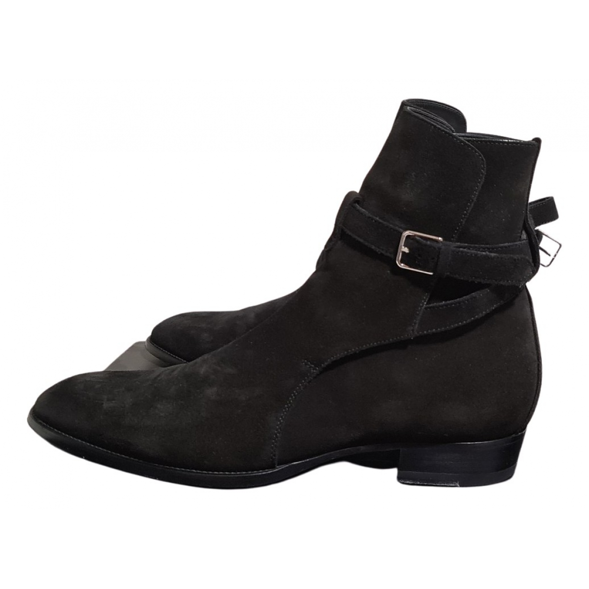 Saint Laurent Wyatt Jodphur Stiefel in  Schwarz Veloursleder