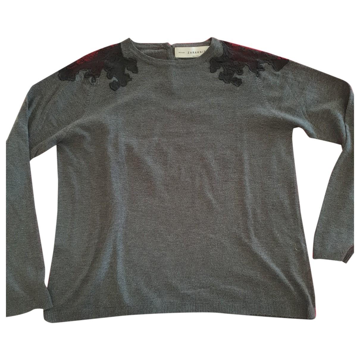 Zara - Top   pour femme en dentelle - gris