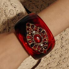 Gemstone Decor Wide Cuff Bracelet