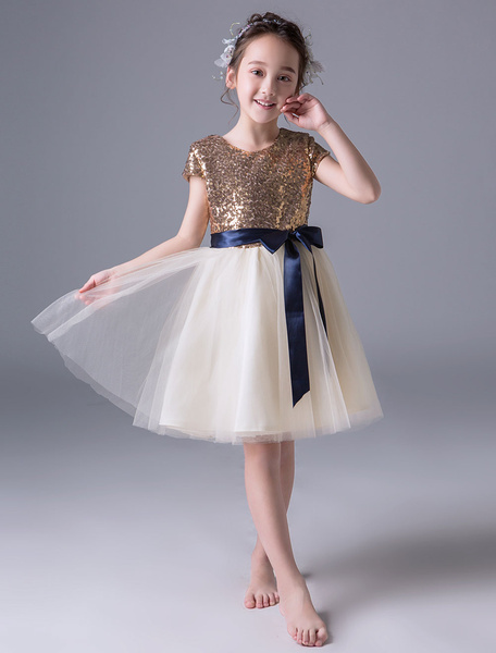 Milanoo Flower Girl Dresses Sequin Ivory Ribbon Sash Short Princess Pageant Party Dresses
