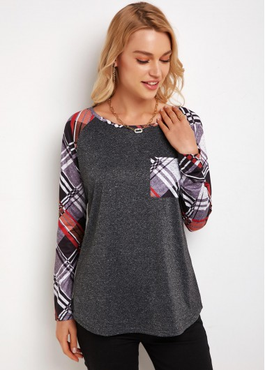 Round Neck Plaid Contrast Long Sleeve T Shirt - M
