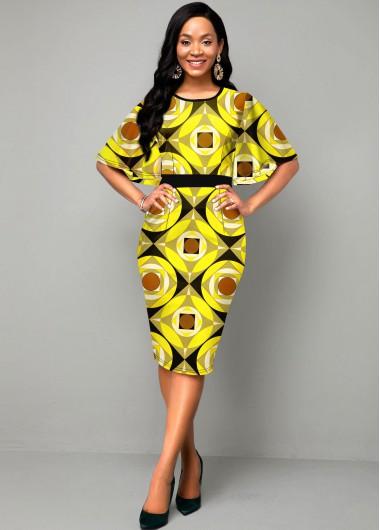 High Waist Cape Sleeve Yellow Geometric Print Dress - 14