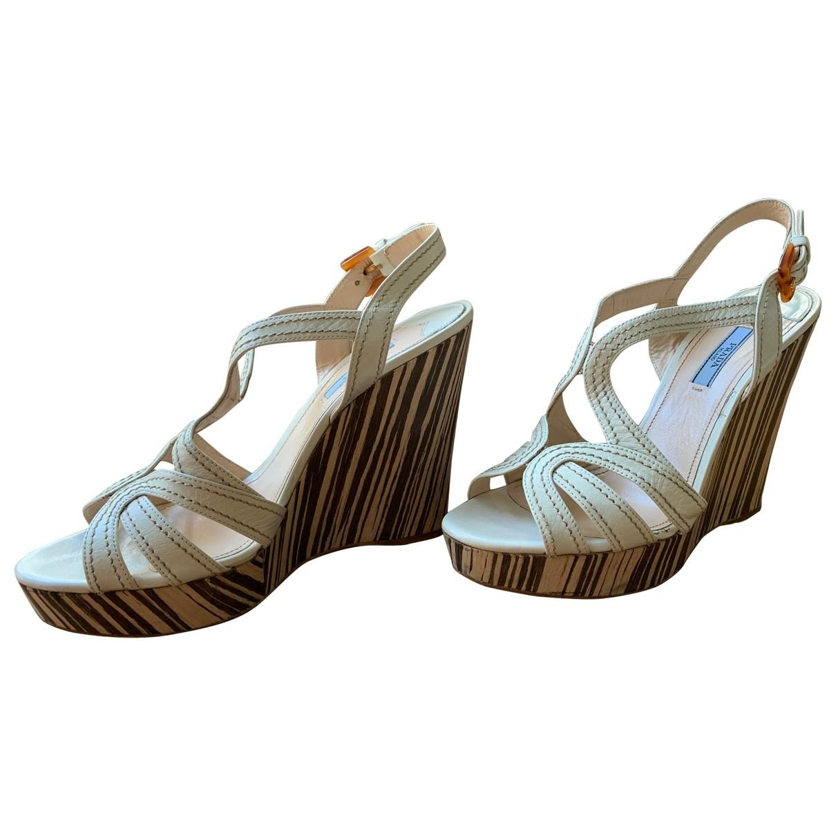Prada \N White Leather Sandals for Women 40 EU