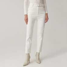 Pantalones con cinturon con hebilla unicolor
