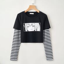 2 In 1 Striped Sleeve Figure Graphic Tee