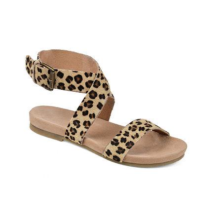 Journee Signature Womens Adller Ankle Strap Flat Sandals, 8 Medium, Multiple Colors