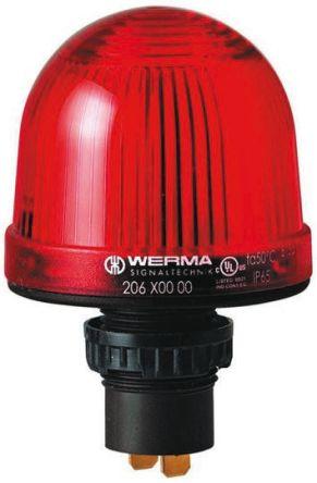 Werma 207 Red LED Beacon, 230 V ac, Steady, Panel Mount