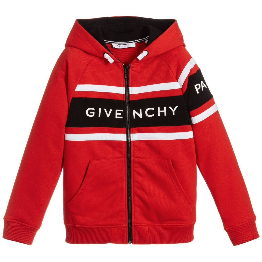 Givenchy Kids Logo Zip-up Hoodie Colour: RED, Size: 4 YEARS