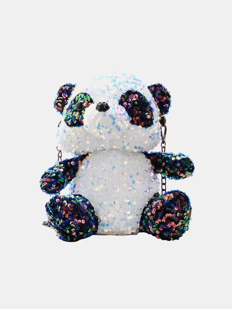 Women Cute Plush Backpack Colorful Sequins Panda Parent-child Crossbody Bag