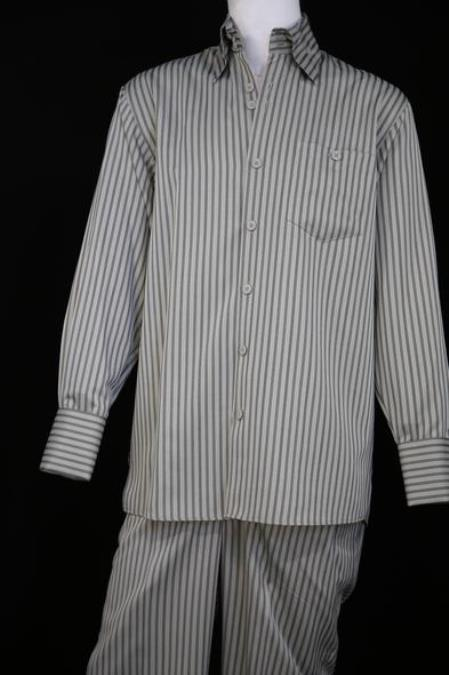 Mens Victorian Stripe Long Sleeve Walking Suit Sage Point Collar