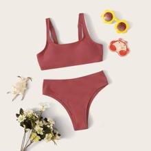 Girls Plain Adjustable Strap Bikini Set