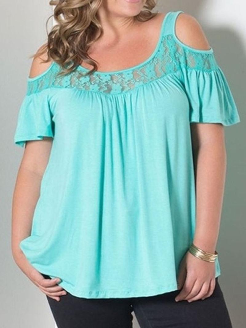 Ericdress Plus Size Patchwork Mesh Short Sleeve Sexy T-Shirt
