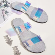 Holographic Double Band Slide Sandals