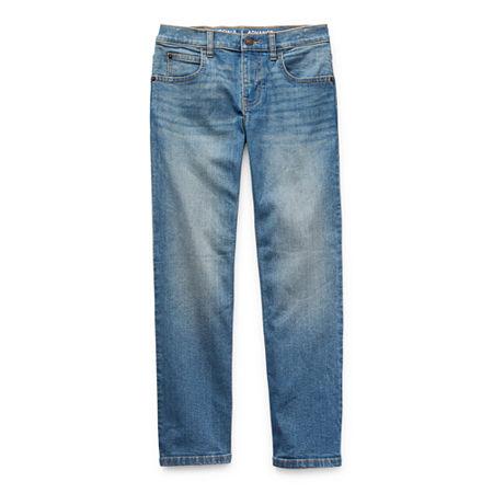 Arizona Flex Little & Big Boys Stretch Straight Leg Jean, 14 Slim , Blue