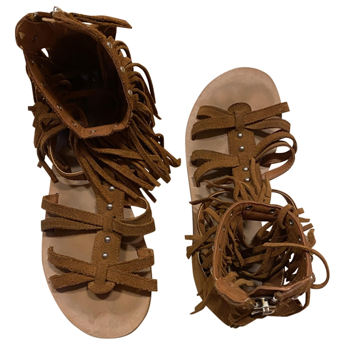 Zara \N Sandalen in  Braun Veloursleder