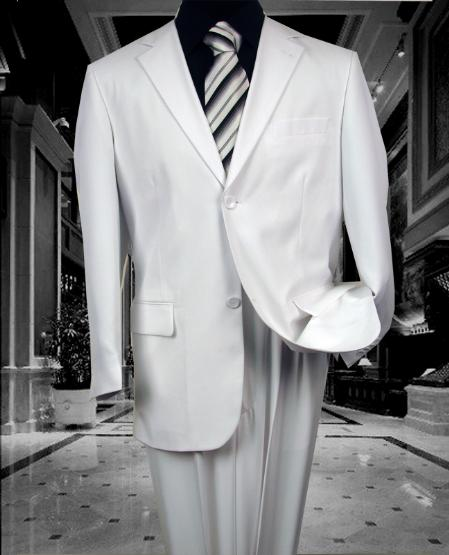 Mens Solid Color White 2 Button Wool Feel 2pc Suit