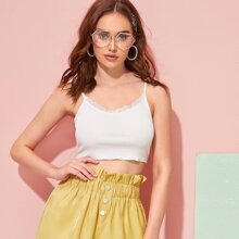 Scalloped Lace Ribbed Cropped Cami Top