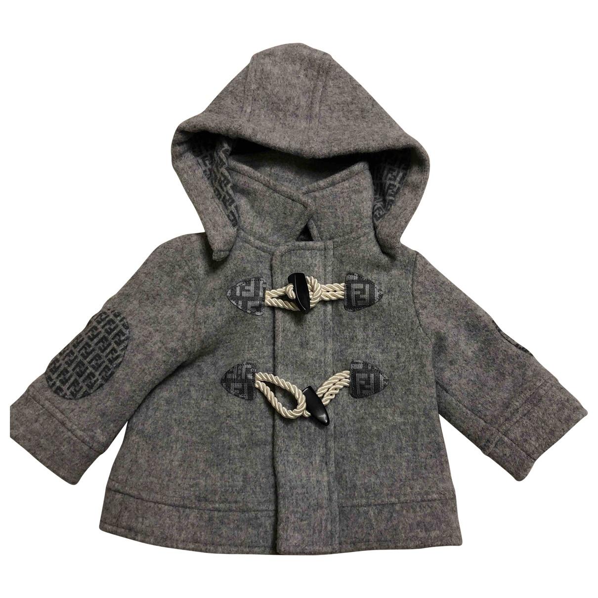 Fendi \N Jacke, Maentel in  Grau Wolle