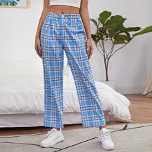 Plaid Print Straight Leg Pants