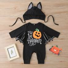 Batman Cosplay Jumpsuit & Hut mit Halloween und Buchstaben Grafik