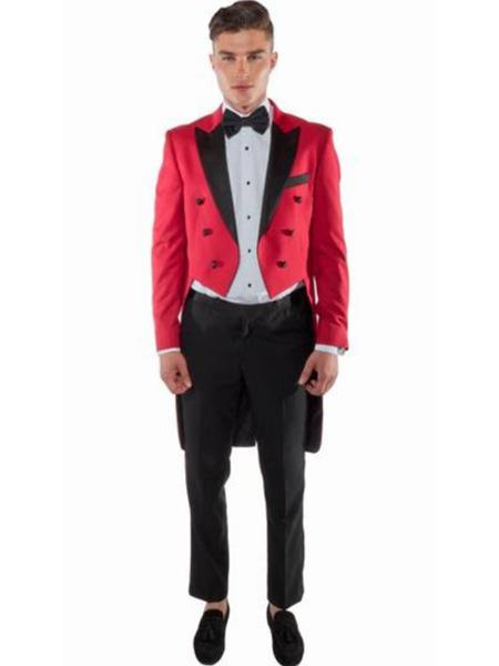 Red TailCoat Tuxedo ~ Suit With Black Lapel