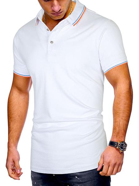 Milanoo Camisa de polo para hombre Cuello redondo de rayas Botones de manga corta Tops de verano