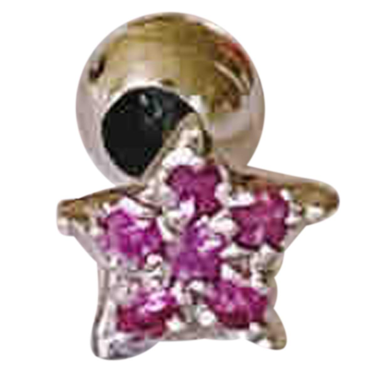 - Boucles doreilles Motifs Etoiles pour femme en or blanc - rose