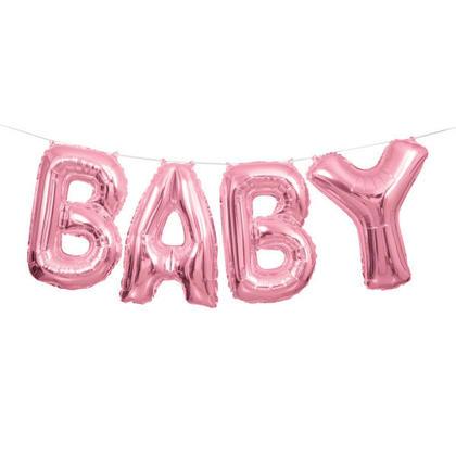 Bannière de lettre ballon rose feuille bébé 14