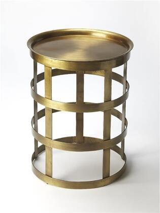 Regis Collection 6118330 Accent Table with Modern Style  Round Shape and Iron Metal Material in Industrial Chic