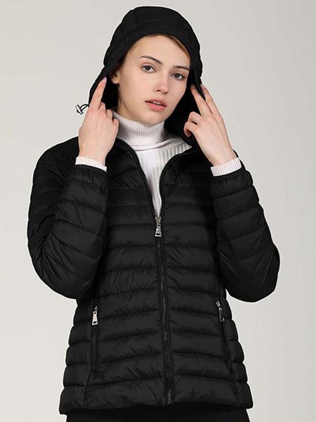 Milanoo Women Puffer Coats Warmth Hooded Zipper Long Sleeves Quilted Coat