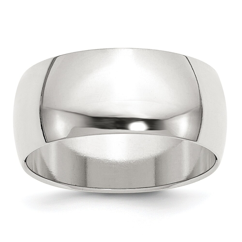 Sterling Silver 9mm Half-Round Band - White by Versil (12)
