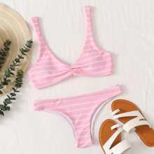 Stripe Ruched Tank Bikini Swimsuit