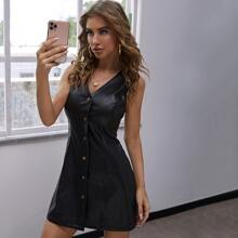 Einfarbiges PU Leder Kleid mit Knopfen vorn