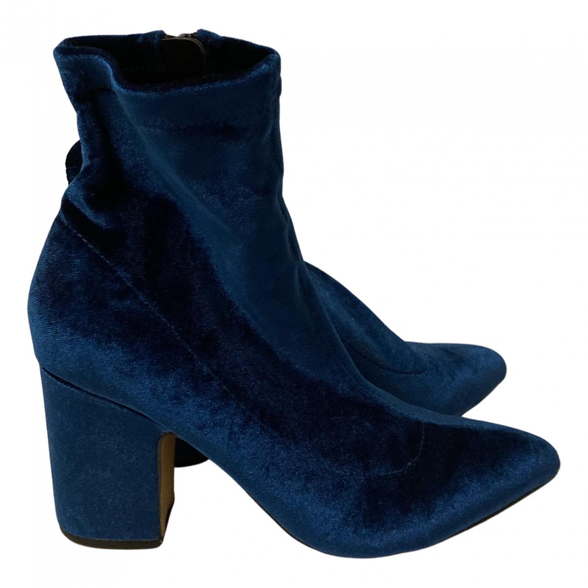 Steve Madden - Boots   pour femme en velours - bleu