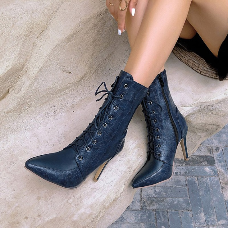 Ericdress Stiletto Heel Side Zipper Pointed Toe Short Floss Boots