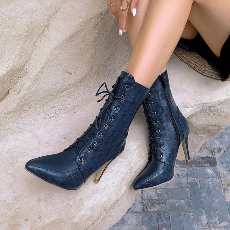 Ericdress Stiletto Heel Side Zipper Pointed Toe Short Floss Boots