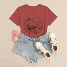 Camiseta de manga corta con estampado de ola