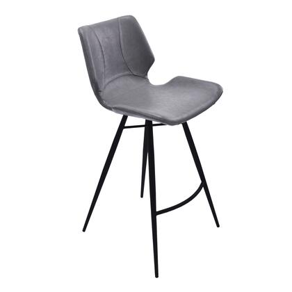 Zurich Collection LCZUBAVGBL26 Counter Height Stool with Contemporary Style  Tapered Tripod Legs  Footrest Support  Matte Black Metal Frame and PU