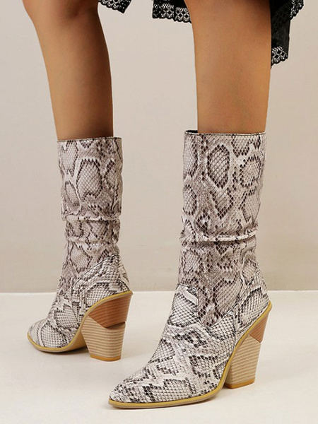 Milanoo Women Ankle Boots PU Leather White Pointed Toe Snakeskin Print Chunky Heel Boots