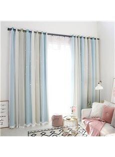Modern Fresh Style Three-colors Cloth and White Voile Sewing Together 2 Panels Blackout Curtains