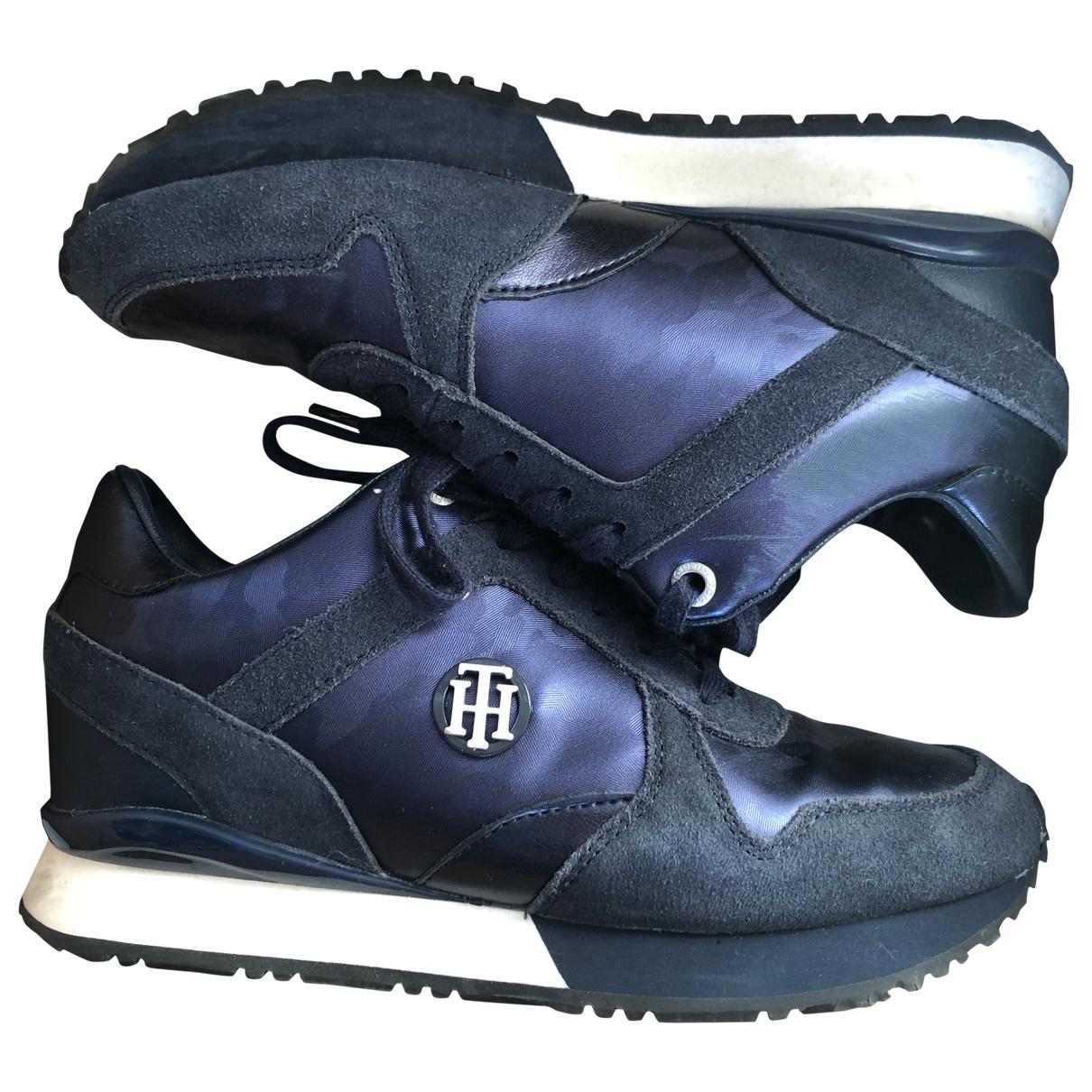 Tommy Hilfiger - Baskets   pour femme en suede - bleu