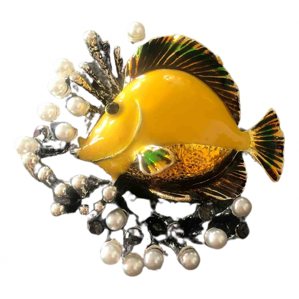 Non Signé / Unsigned Motifs Animaliers Yellow Metal Pins & brooches for Women \N