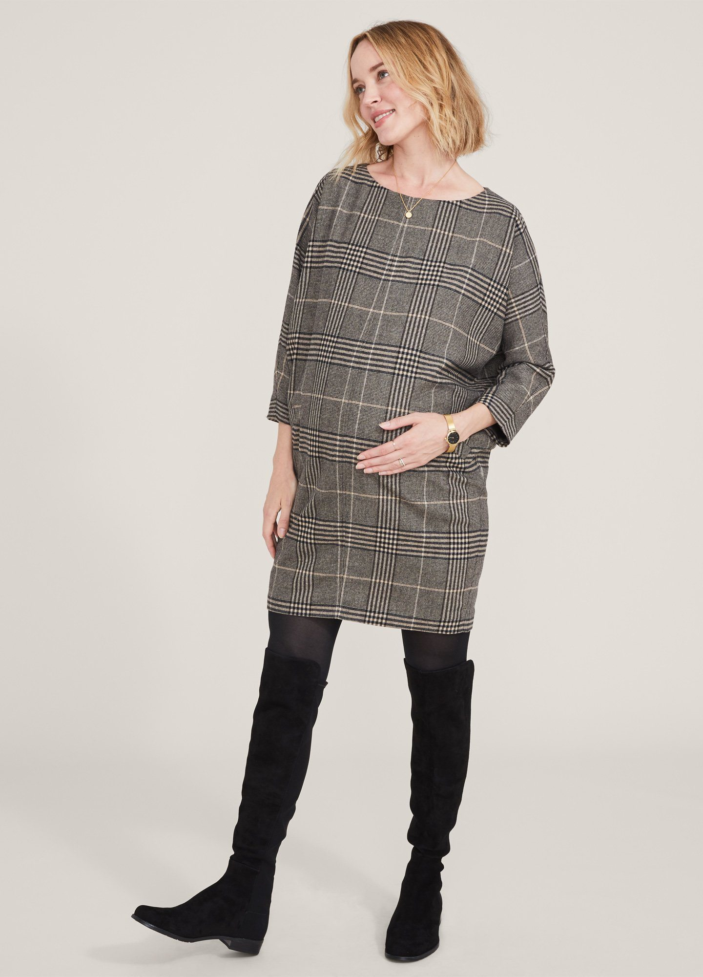 HATCH Maternity The Pauline Dress, camel Plaid, Size 3