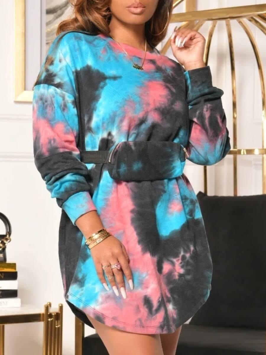 LW Lovely Casual O Neck Tie Dye Print Blue Mini Dress