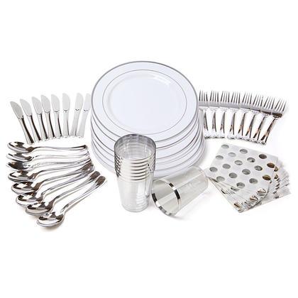 Vaisselle de table en plastique haut de gamme Combo ensembles pour 8 invités, blanc argent - 6 Kits